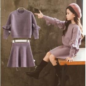 120~160 ニットセット 2点セット スカートセット トップス+スカート 子供服 フォーマル セットアップ 上下セット 入学式 女の子