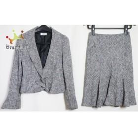 プチプードル petitpoudre スカートスーツ サイズ9 M レディース 黒×白×グレー ツイード   スペシャル特価 20190906
