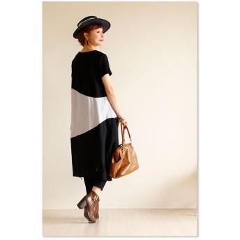 ワンピース - Sawa a la mode ラクチンなのに、シックな印象。レディース ファッション ワンピース 半袖 ミディアム丈 ブラック フリーサイズ M L LL MサイズLサイズ LLサイズ 9号 11号 13号 15号 サワアラモード Sawa a la mode 可