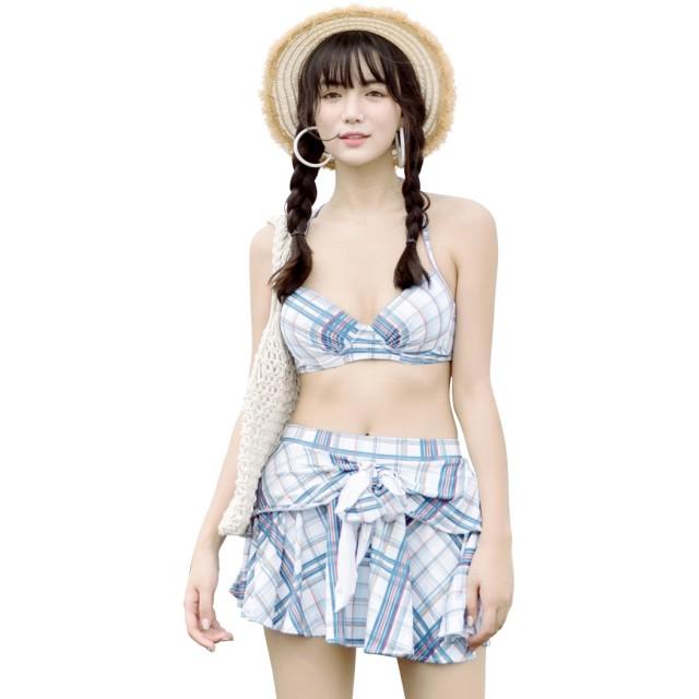e148875f077 ビキニ - teddy 水着 ビキニ レディース 体型カバー レイヤード スカート 3点セット ティアード オトナ女子
