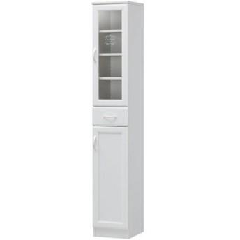 スリム食器棚 ガラス戸1段 セシルナ 幅30cm 高さ181cm 幅300 奥行357 高さ1803mm キッチン収納 食器棚 キッチンボード ダイニングングボード