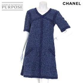 シャネル CHANEL ワンピース ミニ丈 半袖 Vネック ブルー サイズ 36 P45 ランダム レディース