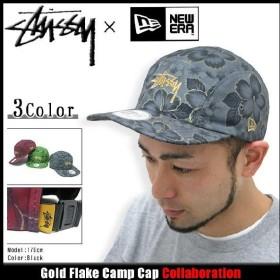 ステューシー STUSSY×NEW ERA キャップ Gold Flake Camp キャップ コラボ(stussy cap 帽子 ニューエラ Wネーム メンズ 132543)