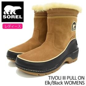 ソレル SOREL ブーツ レディース 女性用 ティボリ 3 プルオン Elk/Black ウィメンズ(TIVOLI III PULL ON WOMENS 防水 ブラウン NL2772-286)