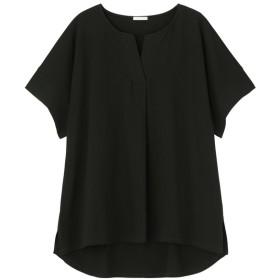 (GU)スキッパーオーバーサイズT(5分袖) BLACK M