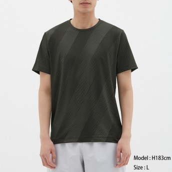 (GU)クルーネックT(半袖)(スラッシュ)GS BLACK L