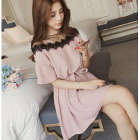 新作 レディースワンピース 肩あきレース オフショル風 韓国ファッション 春夏 かわいい 大きいサイズ 半袖