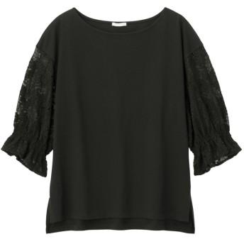(GU)レーススリーブT(5分袖) BLACK L