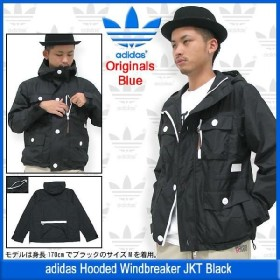 アディダス adidas ジャケット フーデッド ウインドブレーカー Jacket ブラック オリジナルス ブルー(Windbreaker Originals Blue メンズ Z13599)