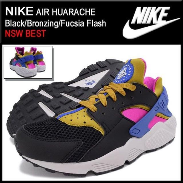 ナイキ NIKE スニーカー エア ハラチ Black/Bronzing/Fucsia Flash 限定 メンズ(男性用) (nike AIR HUARACHE NSW BEST 318429-011)
