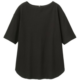 (GU)バックヘンリーオーバーサイズT(5分袖) BLACK XL