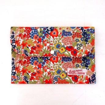 リバティ 母子手帳ケース マーガレットアニー/レッド&ブルー Lサイズ マルチケース「ミニマルマルチ2019」