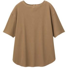 (GU)バックヘンリーオーバーサイズT(5分袖) BROWN XL
