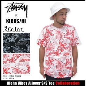 ステューシー STUSSY×KICKS/HI Aloha Vibes Allover Tシャツ 半袖 コラボ(stussy tee トップス KICKS HAWAII メンズ・男性用 3902545)