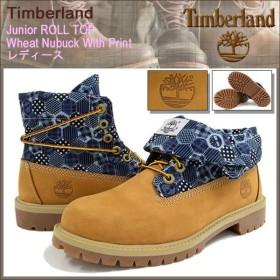 ティンバーランド Timberland ブーツ キッズモデル レディース対応サイズ ジュニア ロールトップ ウィート ヌバック ウィズ プリント(A1CN7)