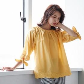シャツ ブラウス レディース 綿100%ナチュラル刺繍リボン袖ブラウス 「マスタード」