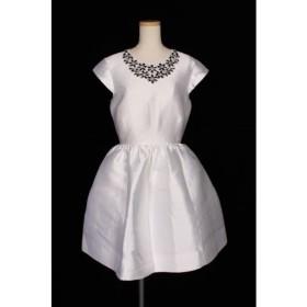 ケイトスペード KATE SPADE Madison Avenue Collection Formal Dress ワンピース ひざ丈 ビジュー 半袖 2 白 ホワイト NJMU3509 /tk0425 レディース 【中古】【