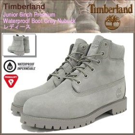 ティンバーランド Timberland ブーツ キッズモデル レディース対応 ジュニア 6インチ プレミアム ウォータープルーフ Grey Nubuck(A172F)