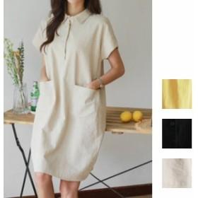 韓国 ファッション レディース ワンピース 夏 春 カジュアル naloF175 リネン 半袖 Aライン ポロシャツ風 ポケット フレア ゆったり 膝上