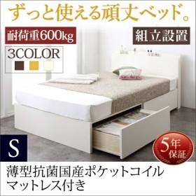 組立設置付 日本製 収納ベッド 薄型抗菌国産ポケットコイルマットレス付き シングル 棚付き コンセント付き 大容量 頑丈 ベット 簡単組立 すのこ構造 布団可能