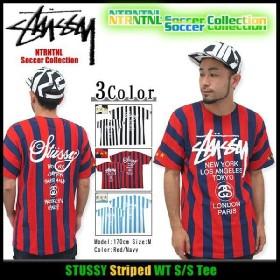 ステューシー STUSSY Striped WT Tシャツ 半袖 NTRNTNL サッカー コレクション(stussy tee トップス 限定 メンズ・男性用 3902666)