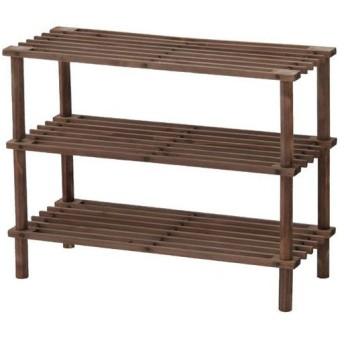 木製オープンラック 木製 オープンラック ラック 幅63cm 高さ48cm 浅型 3段 ブラウン 本棚 オープンシェルフ 靴置き インテリアラック