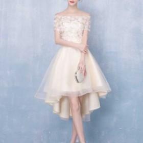 パーティードレス 結婚式 二次会 ワンピース 大きいサイズ ミニドレス フレアースカート パーティードレス 大きいサイズ半袖 オフショル