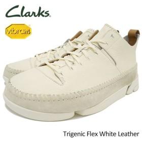 クラークス CLARKS スニーカー メンズ 男性用 トライジェニック フレックス ホワイト レザー(Trigenic Flex White Leather 26117915)