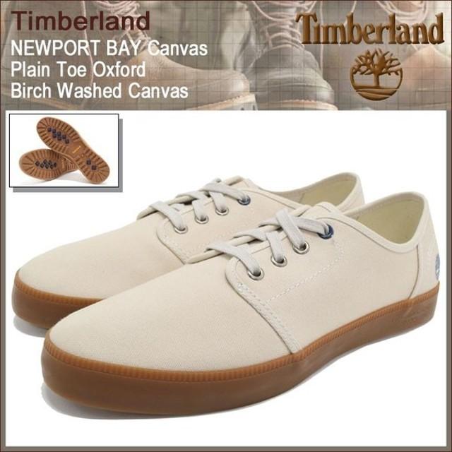 ティンバーランド Timberland スニーカー メンズ ニューポート ベイ キャンバス プレーントゥ オックスフォード Birch Washed Canvas(A14WE)