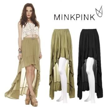 ミンクピンク マキシスカート ロングスカート プリーツスカート プリーツ 柄 フレア 大きいサイズ 春 夏 リゾート MINK PINK