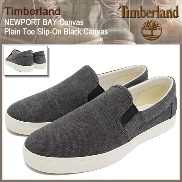 ティンバーランド Timberland スニーカー メンズ 男性用 ニューポート ベイ キャンバス プレーントゥ スリップオン Black Canvas(A18IS)
