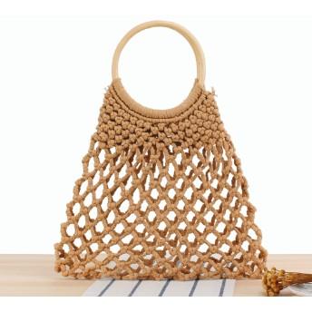 透かし編み 編みバッグ トートバッグ A4 レディース 大きめ メッシュバッグ ネットバッグ ビーチバッグ ストローバッグ 綿麻生地 101