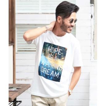 ジギーズショップ 昇華転写NEW YORKプリントエンボス加工Tシャツ / Tシャツ メンズ ティーシャツ 半袖 クルーネック 英字 ロゴ メンズ ホワイト M 【JIGGYS SHOP】
