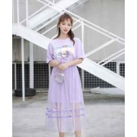 春 夏 ワンピース ロングワンピース ロング丈 2way Tシャツ Tシャツワンピース 紫 青 ベージュ 桃 パープル ブルー ピンク YN-5-241
