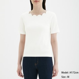 (GU)スカラップネックT(半袖) OFF WHITE S