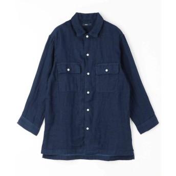 グランドパーク フラップポケット綿麻シャツ メンズ 67ネイビー 46(M) 【Grand PARK】
