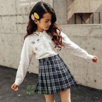 子供服 シャツ 刺繍プリント 夏 110 子ども 秋 可愛い 150 春 女児 120 140 ファッション 長袖 130 女の子 キッズ