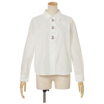 F i.n.t クロスステッチ刺繍シャツ オフホワイト