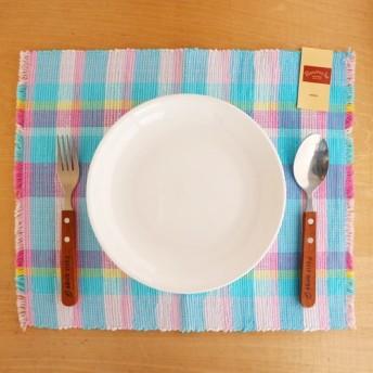 【裂き織】ランチョンマット 夏らしいピンク×水色チェック柄限定2枚セット 手織り