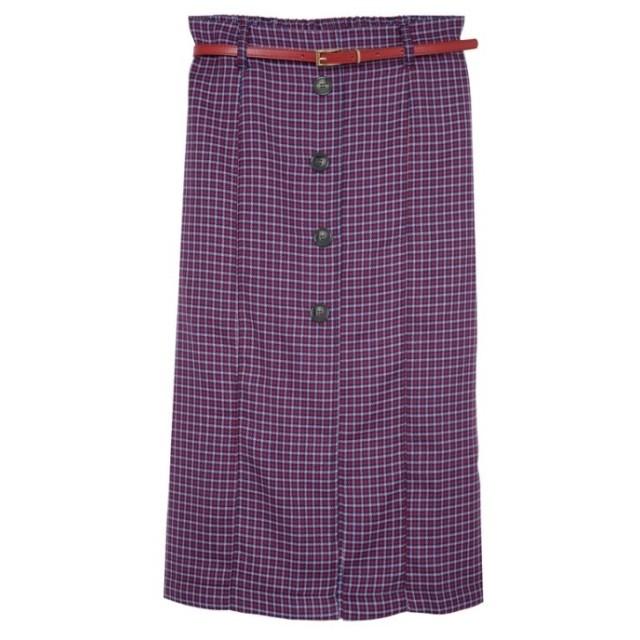 Re: EDIT 千鳥カラーチェックフロントボタンタイトスカート パープル