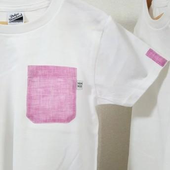 SALE【レディースS】ピンク麻無地・ママミラ・ポケット付き白Tシャツ(WS)10000132