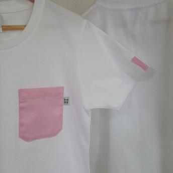 SALE【レディースM】凸凹無地・ママミラ・ポケット付き白Tシャツ(WM)10000063