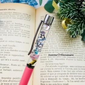 月と小花のハーバリウムボールペン【替芯黒1本付】ピンク