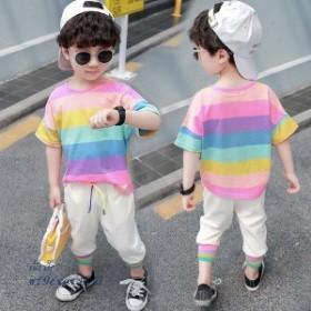 子供服 男の子 半袖Tシャツ カジュアルパンツ 110 散歩 90 100 お出かけ 80 子供服 丸首 2点セット 海外旅行