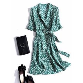 レディース ワンピース 『上品』 SILK100 半袖 ドット柄 ベルト付き ワンピース 大きいサイズ 大結婚式 40代 ファッション 50代