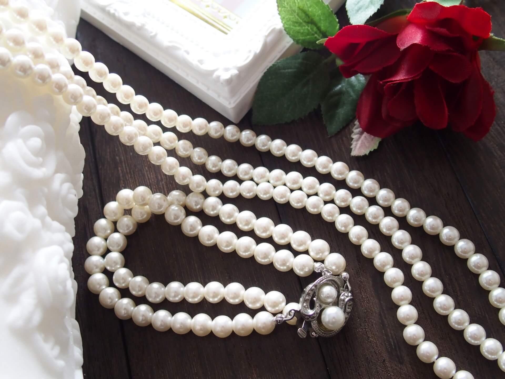 真珠の2連ネックレス