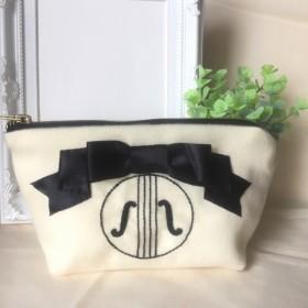 【再販】【一点のみ】バイオリン手刺繍 リボンゴシックポーチ*Strings