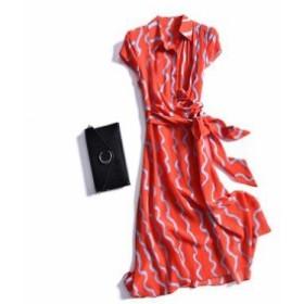 レディース ワンピース 『上品』 SILK100 半袖 プリント シャツ ワンピース 大きいサイズ 大結婚式 40代 ファッション 50代