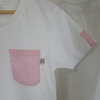 SALE【レディースM】格子柄・ママミラ・ポケット付き白Tシャツ(WM)10000115