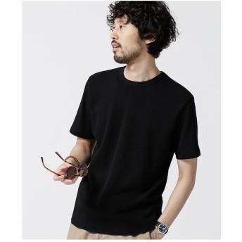 nano・universe ラウンドワッフルショートスリーブTシャツ(ブラック)【返品不可商品】